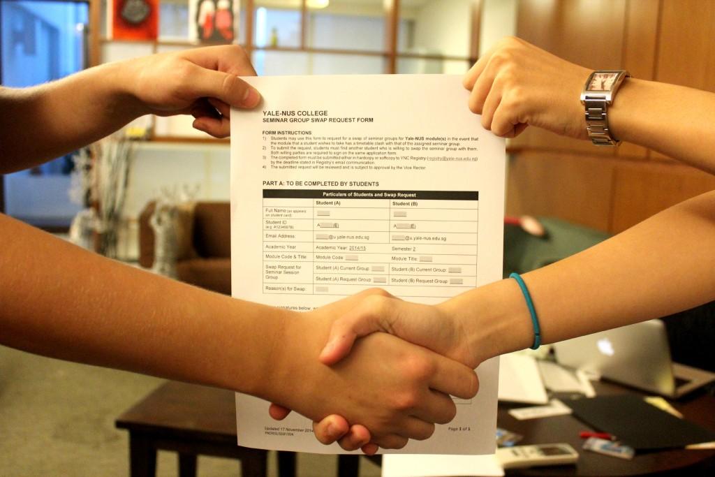 Handshake as students swap modules