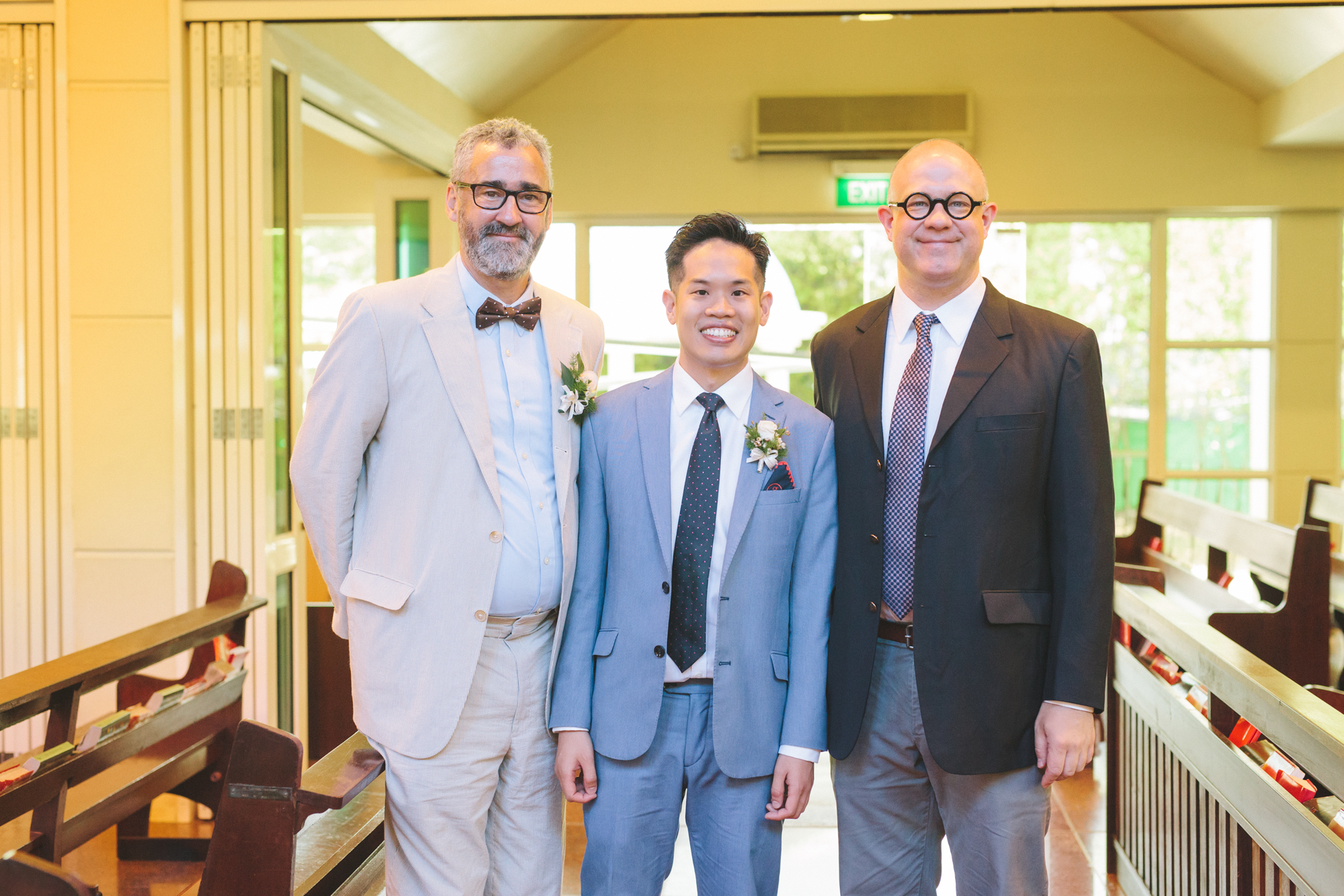 [From left to right] Professor Barney Bate, Professor Andrew Hui and Professor Matthew Walker at Mr. Hui's wedding. (Photo Credit to Professor Andrew Hui)