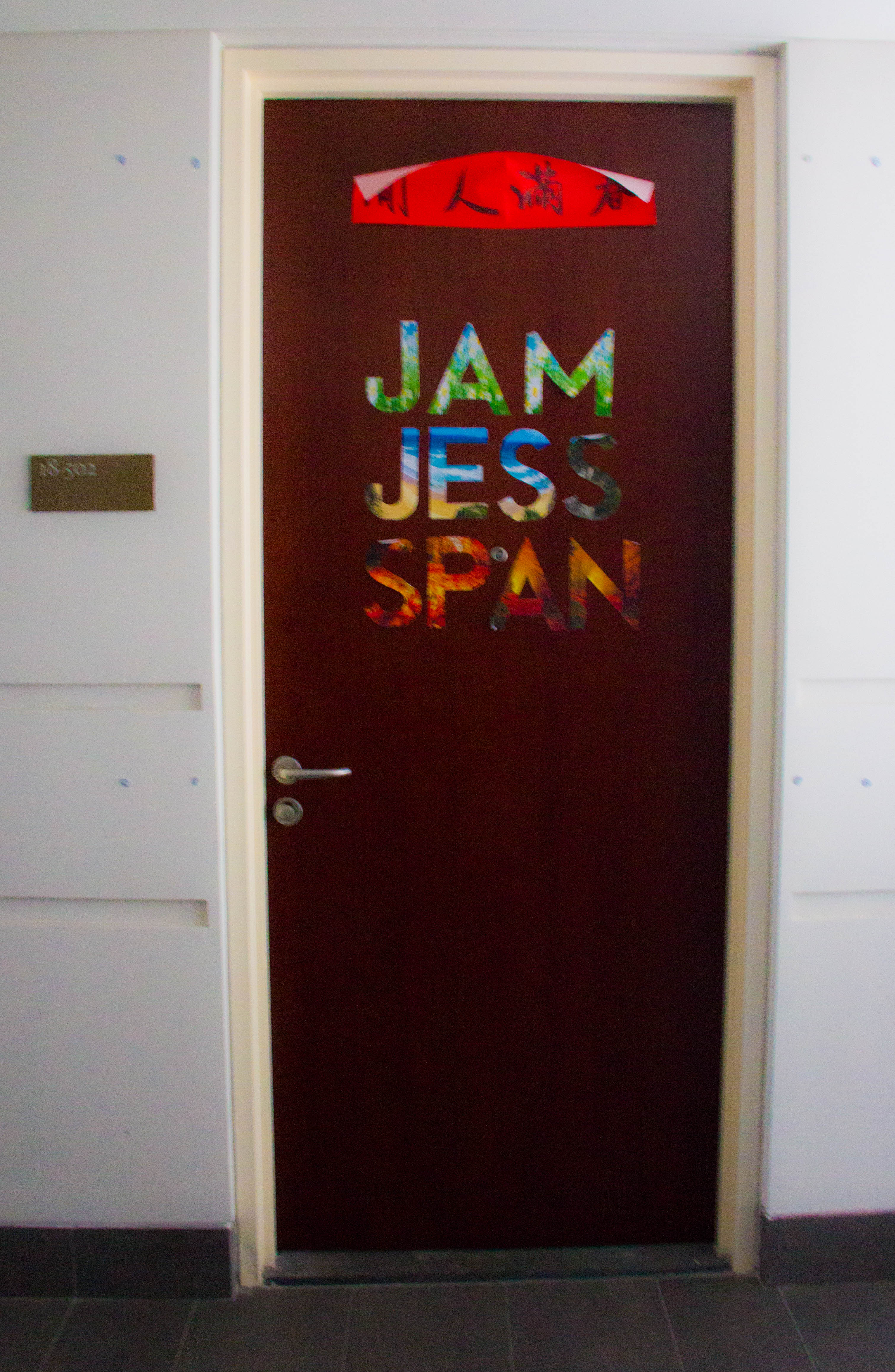 """""""We're all pretty different people, I'm not sure if you saw our names on the door. Anya's was on there too, before it fell down. We're each represented as one of the four seasons. My name has daisies on it. Jess has a beach. Spandana's got red leaves, and Anya's winter with the frozen trees."""""""