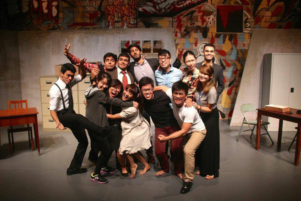 Jia Rong with some of his team members and The Pillowman cast, 2014.