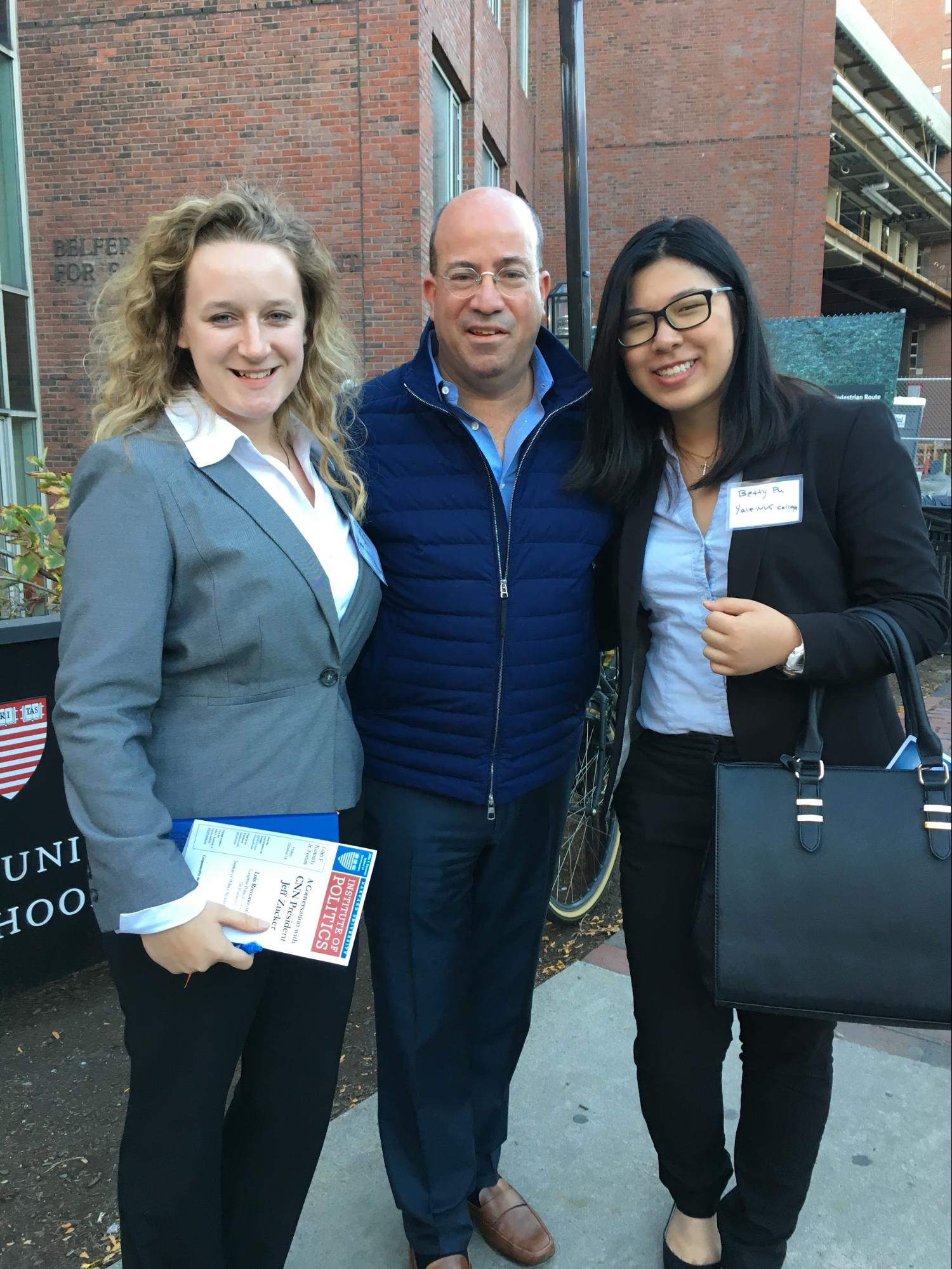 Chandler Beyer '20 & Betty Pu '20 with Jeff Zucker, President of CNN