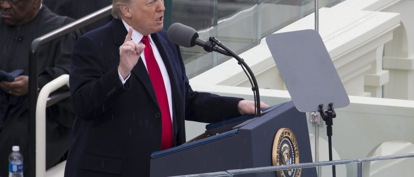 Donald Trump gives his inaugural Address. Seven days later Trump signed an executive order restricting immigration from seven majority-muslim countries.