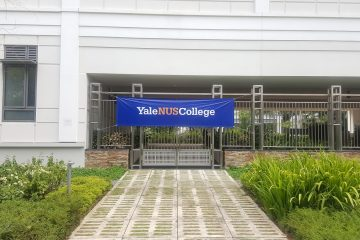 A Yale-NUS College banner, hung up during the NUS open day.
